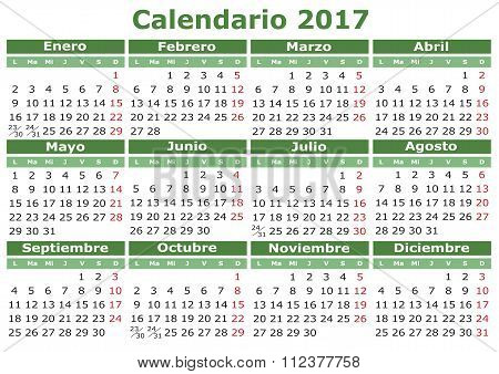 Spanish Calendar 2017