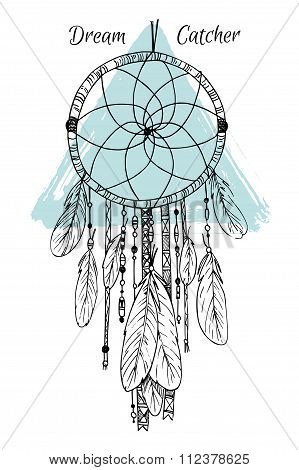 Hand Drawn Illustration - Dream Catcher. Tribal Design Element. Vector