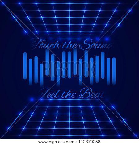 Retro disco stage with digital equalizer