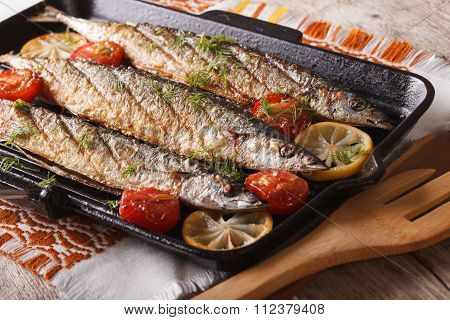 Appetizing Grilled Fish With Vegetables On A Grill Pan Close-up