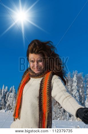 Enjoying the Snow Beauty in warm clothes