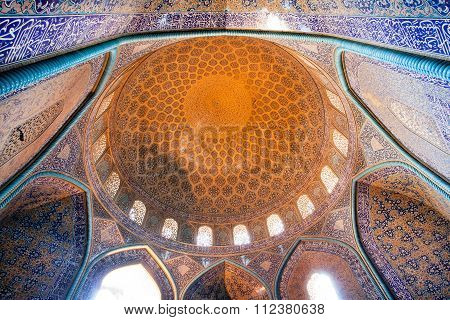 Dome Of The Sheikh Lotfollah Mosque In Persian Style Built In 1619, Iran. Unesco World Heritage Site