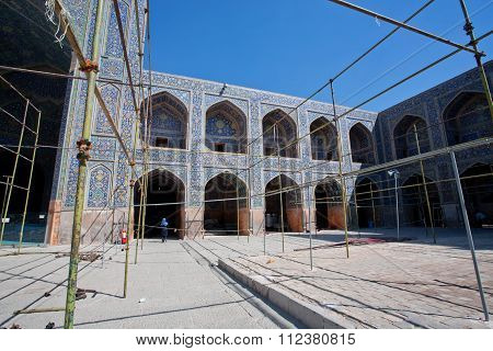 Reconstruction Period Of Inner Space Of Persian Imam Mosque, Isfahan In Iran. Unesco World Heritage