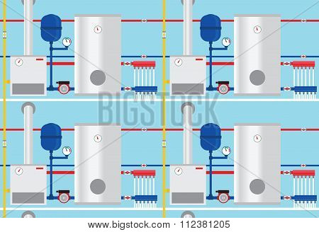 Gas Boiler In The Cottage, Pattern. Vector.