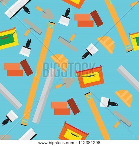 construction Tools Pattern. Trowel, Level, Construction Helmet, Bucket, Trowel, Brick, Roller.