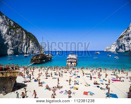 Zakynthos Greece - August 11 2015: View of Navagio (Shipwreck) Beach in Zakynthos Navagio Beach is a popular attraction among tourists visiting the island of Zakynthos