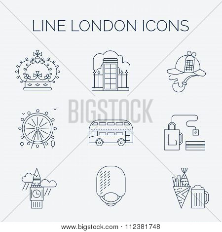 Set of linear London icons.