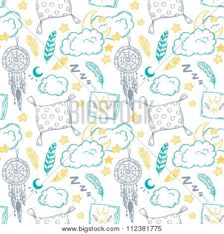 Hand Drawn Vector Illustration - Seamless Pattern With Feathers, Moon, Clouds, Stars And More. Good