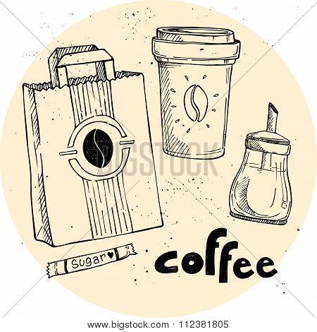 Hand Drawn Vector Vintage Illustration - Coffee Set. Coffee To Go