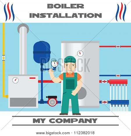 Boiler Installation Banner. Business Card. Vector.