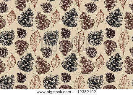 Hand Drawn Vector Illustrations. Seamless Pattern With With Pine Cones And Leaves. Forest Background