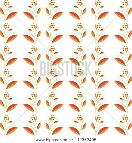 Seamless floral texture. Orange and Burgundy leaves, fruits, green branches on a white background, h