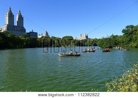 Rowboats on the Lake in Central Park