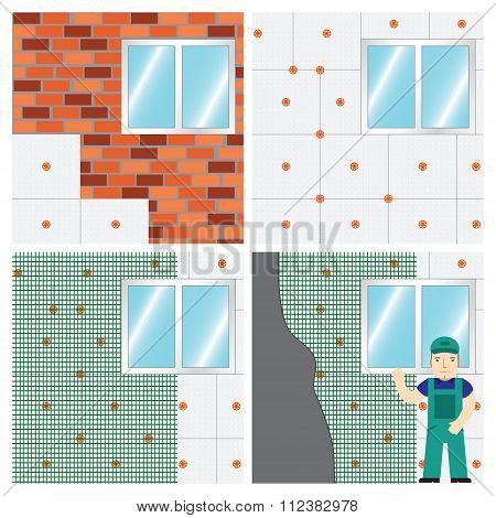 How To Insulate A Wall. Set.