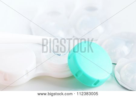 Contact Lenses Holding By Tweezers, Close Up