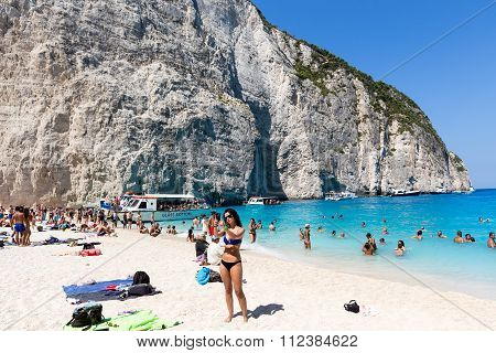 View Of Navagio (shipwreck) Beach In Zakynthos, Navagio Beach Is A Popular Attraction Among Tourists