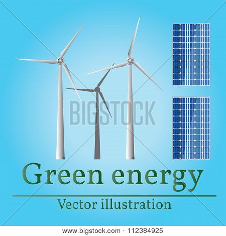 Eco Energy. Green Energy. Wind Energy. Solar Energy. Vector. Eco Energy Drawing. Eco Energy Graphic.