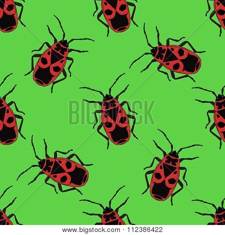 Seamless Pattern With Bug-soldier Or Firebug .    Hand-drawn Bug-soldier, Firebug . Vector
