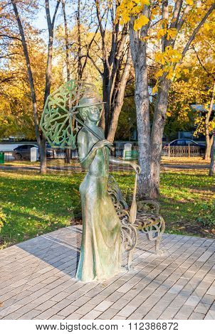 Lady With Tennis Racket. Monument In Samara, Russia