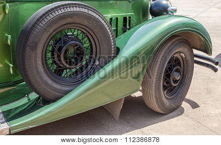 Spare Wheel Of A Retro Car Packard Convertible Sedan 1934 Year