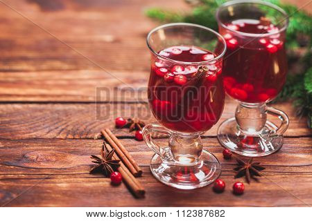 Mulled wine with cranberries. Winter drink