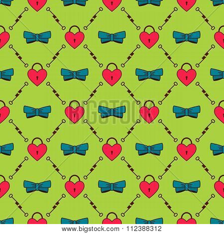Seamless pattern with hearts and bows