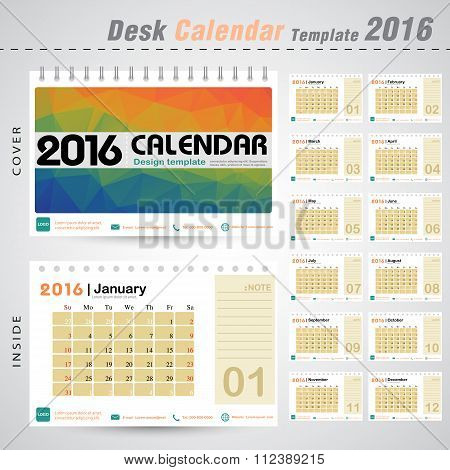 Desk Calendar 2016 Vector Design Template With Colorful Triangle Abstract Pattern Background. Set Of