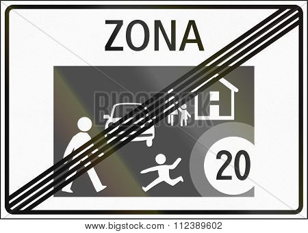 Road Sign Used In Switzerland - End Of Home Zone