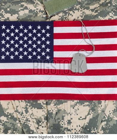 Usa Flag With Military Uniform And Identification Tags