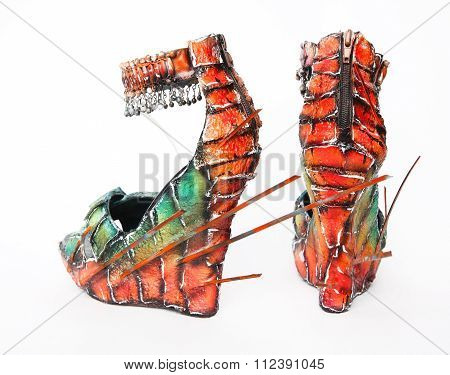 Creative colorful wedge sandals