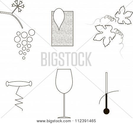 Wine etiquette icons, thin black lines on a white background. A bunch of grapes, leaves, map, index,