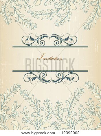 Vintage invitation card with ornate elegant retro abstract floral design, dark blue and beige flowers and leaves on scratch textured beige background with text label. Vector illustration.