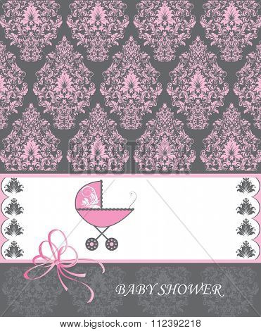 Vintage baby shower invitation card with ornate elegant retro abstract floral design, pink flowers and leaves on dark gray background with baby carriage. Vector illustration.
