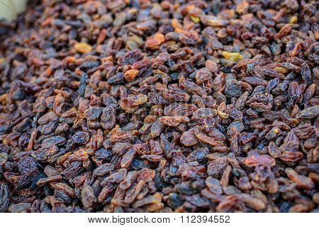 Pile Of Organic Dry Raw Raisins