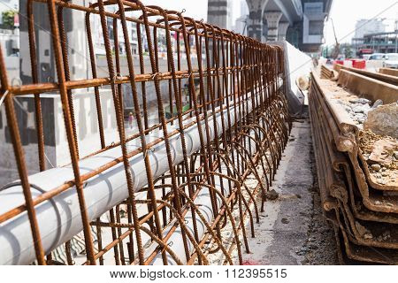 Pvc Pipes Lined Within Rebar Concrete Divider In Road Construction