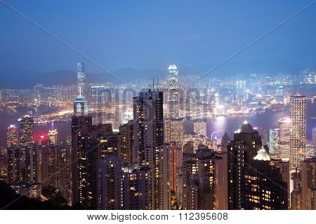 Defocus ,view From Victoria Peak To The Business Borough And The Gulf In Hong Kong