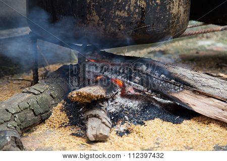 Close up of a firewood cooker, traditional cooking