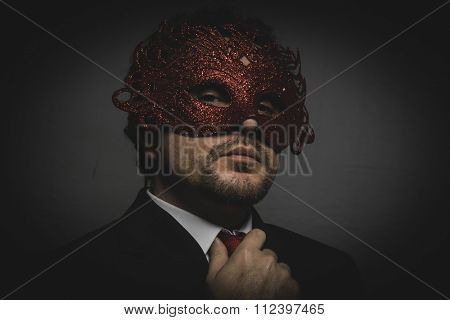 elegance, Business man mysterious Venetian mask with frills
