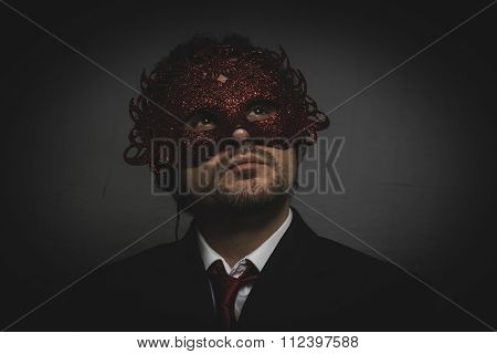 Business man mysterious Venetian mask with frills