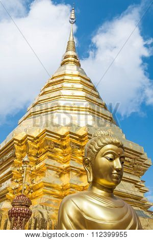 Golden structure in Wat Phra That Doi Suthep in Chiangmai, Thailand