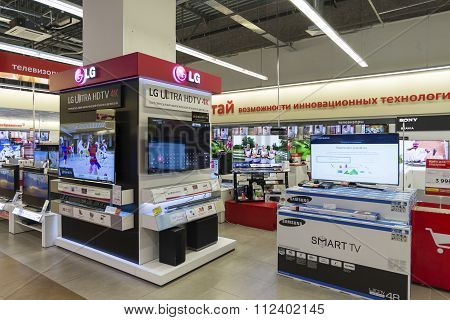 Khimki, Russia - December 22, 2015: TV in Mvideo large chain stores selling electronics