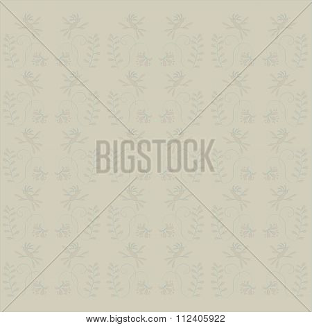 Seamless floral texture. Beige background, pink birds, flowers and leaves, thin black lines