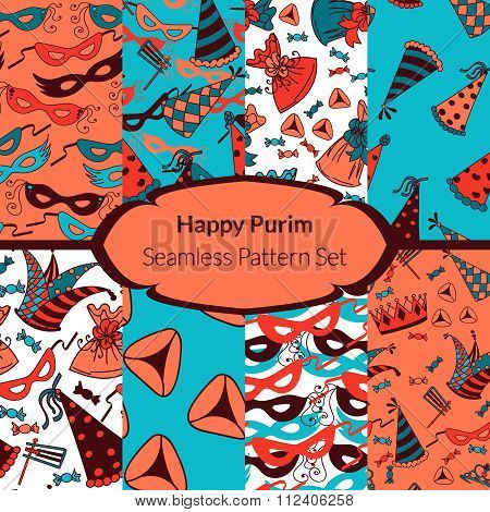 Seamless pattern set for Jewish holiday Purim