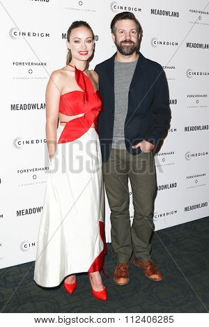 NEW YORK-OCT 11: Actors Olivia Wilde (L) and Jason Sudeikis attend the premiere of 'Meadowland' at Sunshine Landmark on October 11, 2015 in New York City.