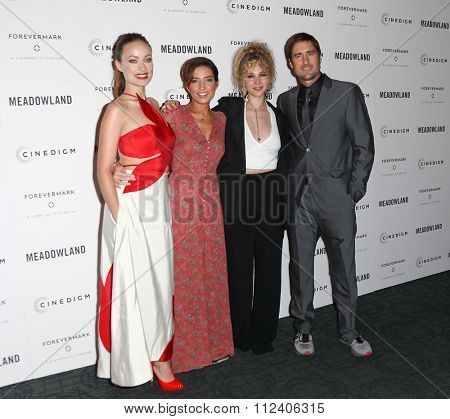 NEW YORK-OCT 11: (L-R) Actors Olivia Wilde, director Reed Morano, Juno Temple and Luke Wilson attend the premiere of 'Meadowland' at Sunshine Landmark on October 11, 2015 in New York City.
