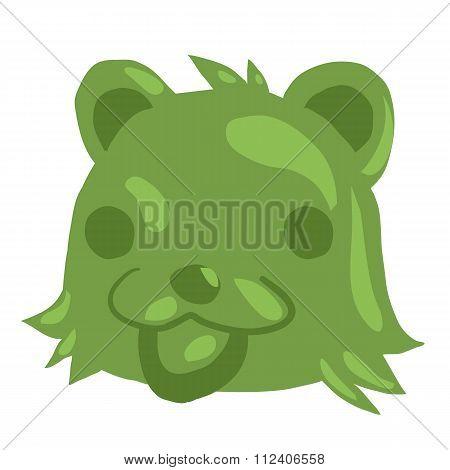 Cartoon green gum bear icon.