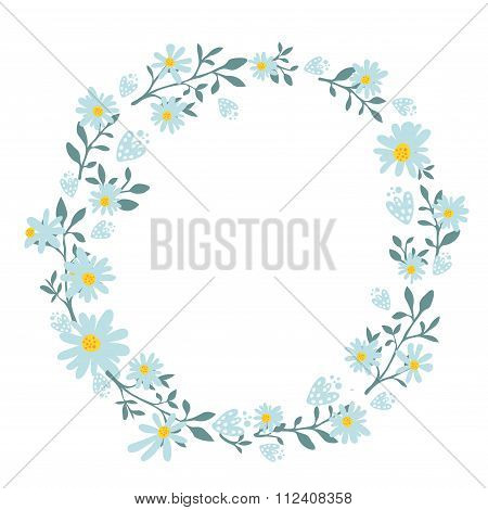 Hand drawn spring wreath with camomile flowers. Round frame for cards and wedding invitations, sprin