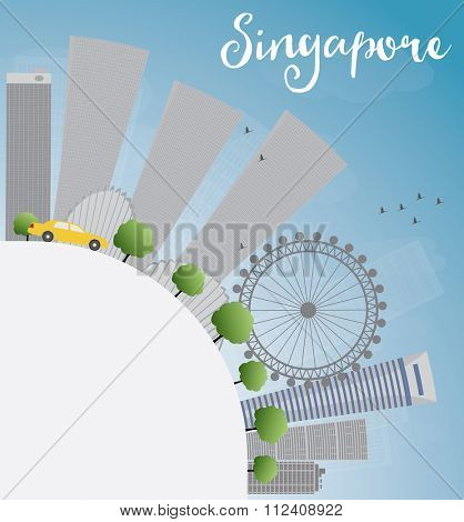 Singapore skyline with gray landmarks, blue sky and copy space. Vector illustration. Business travel and tourism concept with place for text. Image for presentation, banner, placard and web site.