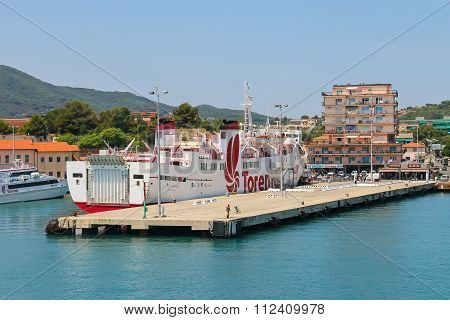 Ferry Boat Marmorica Cruising To Island Of Elba, Italy