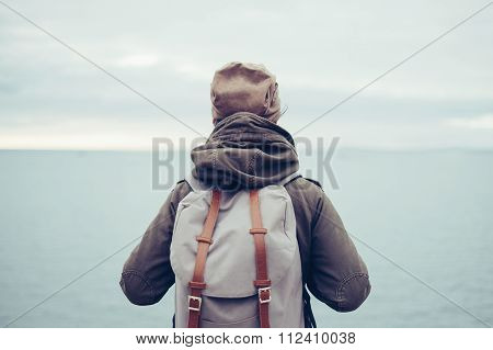 Traveler With Backpack And Sea